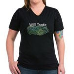 Will trade for hostas Women's V-Neck Dark T-Shirt