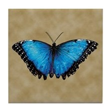 Blue Butterfly 2 Tile Coaster