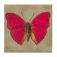 Red Butterfly 2 Tile Coaster