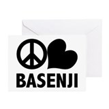 Peace Love Basenji Greeting Cards (Pk of 20)