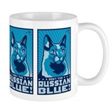 Obey the Russian Blue! Propaganda Cat Small Mugs