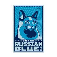 Russian Blue - Cat Propaganda Mini Poster
