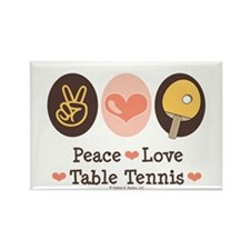 Peace Love Table Tennis Rectangle Magnet