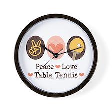 Peace Love Table Tennis Wall Clock