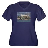 Alcatraz Island 2 Women's Plus Size V-Neck Dark T-