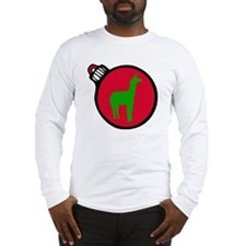 Red and Green Alpaca Christmas Long Sleeve T-Shirt