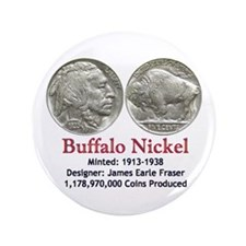 "Buffalo Nickel 3.5"" Button"