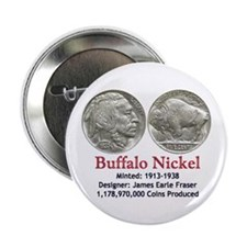 "Buffalo Nickel 2.25"" Button (100 pack)"