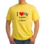 I Heart My Irrigation Engineer Yellow T-Shirt