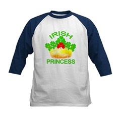 Irish Princess with Gold Crown Kids Baseball Jerse