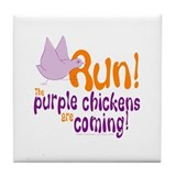 Purple Chickens Tile Coaster