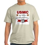 USMC Mother defending freedom Ash Grey T-Shirt
