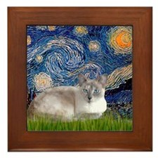 Starry / Lilac Pt Siamese cat Framed Tile