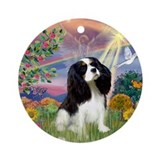 Cloud Angel & Cavalier King C Keepsake (Round)