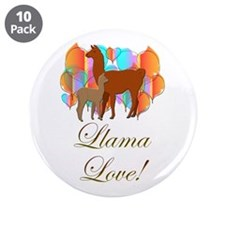 "Llama Love! 3.5"" Button (10 pack)"