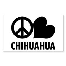 Peace Love Chihuahua Rectangle Decal