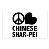 Peace Love Shar-Pei Rectangle Decal