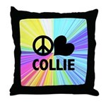 Peace Love Collie Throw Pillow