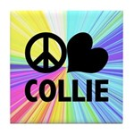 Peace Love Collie Tile Coaster