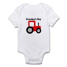 Grandpa's Boy Red Tractor Infant Bodysuit