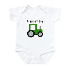 Grandpa's Boy Green Tractor Infant Bodysuit