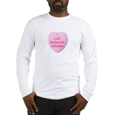 Candy Heart I Love Obama Long Sleeve T-Shirt