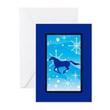 Snowflakes Mustang Christmas Greeting Cards (Pk of