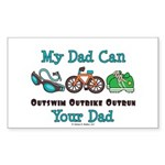 Dad Triathlete Triathlon Rectangle Sticker