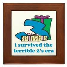 Three: I Survived The Terrible Two's Framed Tile