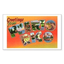 Puerto Rico Greetings Rectangle Decal