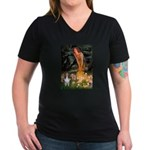 MidEve Sheltie (S) Women's V-Neck Dark T-Shirt