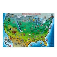 Unique Us map Postcards (Package of 8)