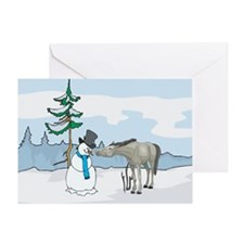 Snowman and Horse Christmas Greeting Card