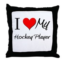 I Heart My Hockey Player Throw Pillow
