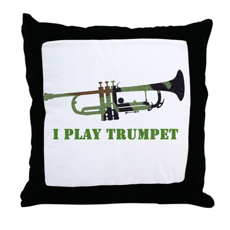 Camo Trumpet Throw Pillow