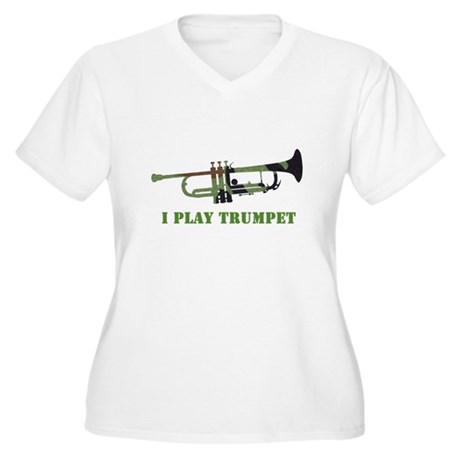Camo Trumpet Women's Plus Size V-Neck T-Shirt