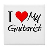 I Heart My Guitarist Tile Coaster