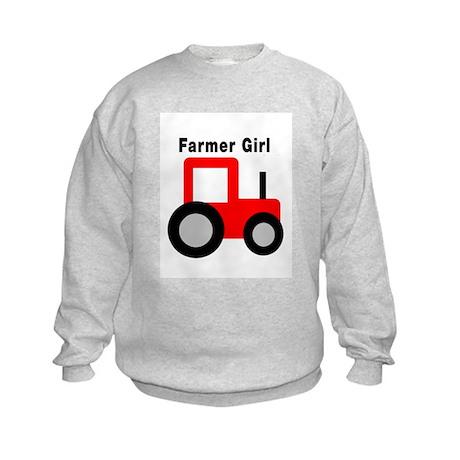 Farmer Girl Red Tractor Kids Sweatshirt