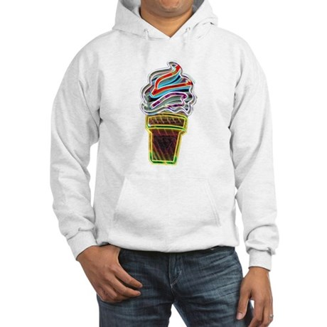Neon Swirl Ice Cream Cone Hooded Sweatshirt