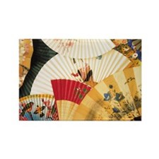 Vintage Japanese Fan Art Rectangle Magnet