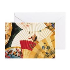 Vintage Japanese Fan Art Greeting Card