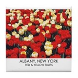Red and Yellow Tulips Tile Coaster