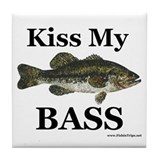 &quot;Kiss My Bass&quot; Tile Coaster