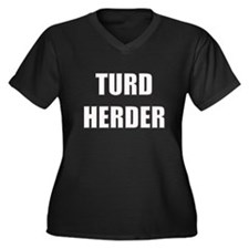 Turd Herder Women's Plus Size V-Neck Dark T