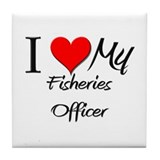I Heart My Fisheries Officer Tile Coaster