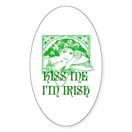 Kiss Me Irish Girl Oval Sticker