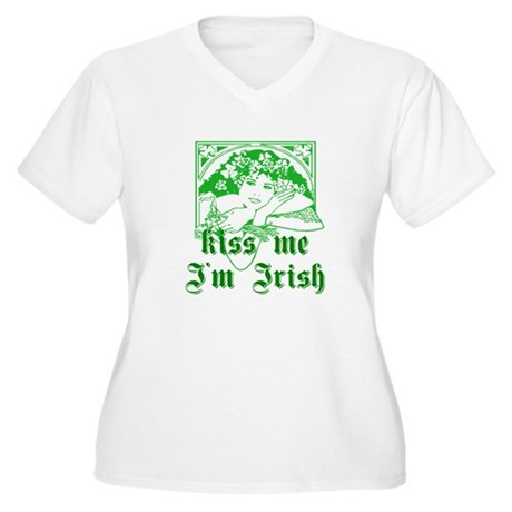 Kiss Me Irish Girl Women's Plus Size V-Neck T-Shir