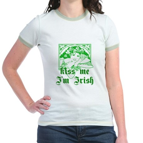 Kiss Me Irish Girl Jr. Ringer T-Shirt