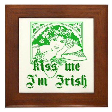 Kiss Me Irish Girl Framed Tile