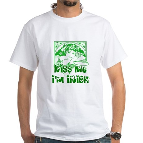 Kiss Me Irish Girl White T-Shirt
